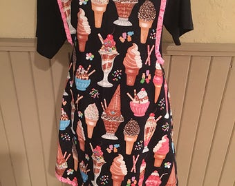 Women's apron  with ice cream theme