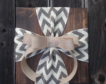 Rustic Burlap Bow Wood Sign Wall Decor - Custom Order!