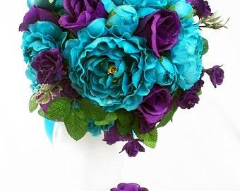 Purple and turquoise wedding bouquets, Bouquet dark silk flowers bridal Lavender weddings teal green light bridesmaid Plum Royal blue color