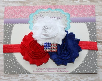 Fourth of July Baby Headband, Infant Headband, Newborn Headband, Flag Headband, Red, White, and Blue Headband. Flag Headband