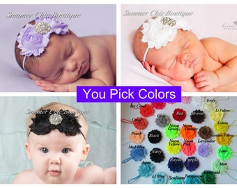 You Pick Colors Double Flower Headband, Baby Headbands, Infant Headband, Baby Headband Set, Infant Headband Set, Newborn Headband
