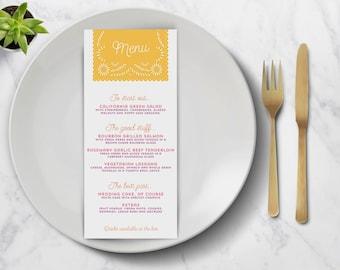 Papel Picado Wedding Program and Menu