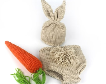 Happy Easter newborn photo prop baby bunny Crochet Knitting Costume Set Rabbit Hats and Diaper Beanies and Pants