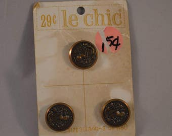 "Set of 3 Unused Vintage Metal Knight's Coat of Arms Buttons from Le Chic (Size: 3/4"")"