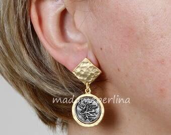 Islamic earrings matte gold and silver plated Arabic alphabet Muhammed name antiqued rustic koran kuran muslim jewelry