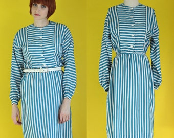 SALE: Vintage 80s Striped Dress - Teal Dress - Shirt Dress - Long Sleeve Dress - Midi Dress - Dolman Sleeve Dress -  Size Small / Med