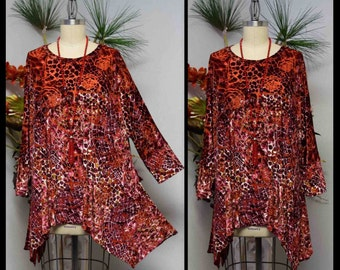 Dare2bstylish, Adorable and Comfortable, Lagenlook Tunic, Velvet Tunic, Plus size Tunic in Velvet Exotic Print.