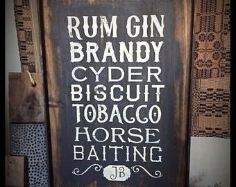 Framed, primitive handmade sign-Rum, Gin, Brandy