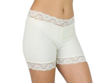 Ivory Bridal Underwear Lace Trim Biker Shorts Spanx Style ON SALE