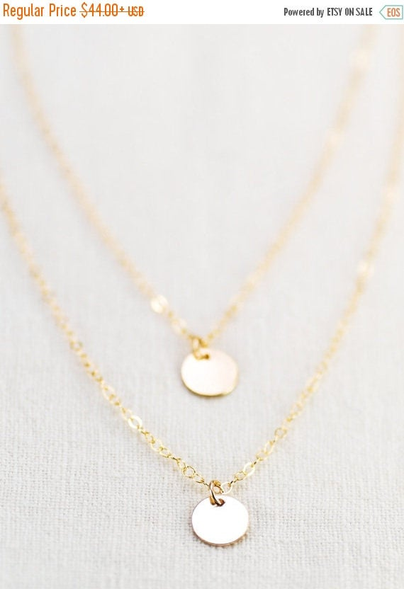 20% OFF SPRING SALE Aniani necklace - double layered 14k gold filled disc necklace, delicate gold necklace, double strand necklace, layering