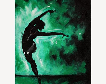 "Dance Ballet Painting ""Sofia' - STUDIO SALE 30% off - 16x20 Original Acrylic Painting Dancer Modern Ballerina"