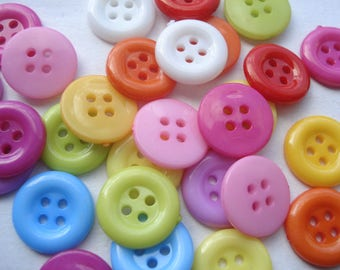 12mm Mixed Colours Acrylic Buttons, 4-Hole Mixed Colours Sewing Buttons, Pack of 15 Mixed Colours Round Buttons A124M