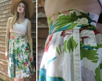 50s Tropical Print PLEATED SKIRT Vintage Cotton TRIBAL Garden Skirt Mod Retro High Waisted Woman's Small Spring Summer Festivals Pleat Skirt