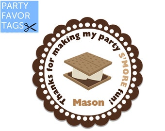 Smore Tags - Smore Favor Tags, Smore Party Favor Tags, Smores Birthday Tags, Cupcake Toppers, Smores Stickers, DIY Printable Favor Tags