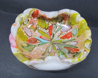 Mid Century MURANO  multi Color leaf heavy glass cigar ashtray with silver flecks