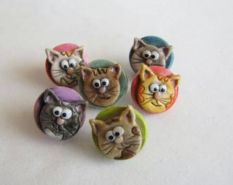 Cat Face Thumbtacks, Kitty Thumbtacks, Cute Cat Push Pins, Bulletin Board Tacks, Gift for Cat Lovers