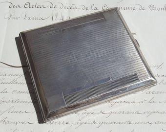 Antique Vintage French Cigarette Case Chrome plated wallet 1940s
