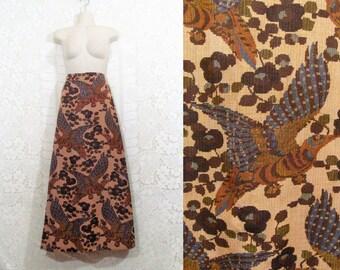 Vtg 70s Handmade Bird Stitched Tapestry High Waisted Bohemian Maxi Skirt sz S