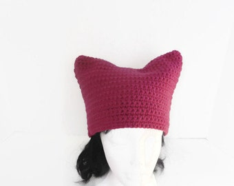Magenta Pink Power Hat Cat-Eared Hat for Protests & Marches Pussy Hat Protest Hat Womens Rights