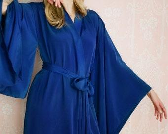 "1 custom long ""Noguchi"" kimono in faux silk. Long kimono robe Long bridal robe Long silk kimono with pockets Gift for her Flapper kimono"