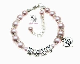Big Sister Bracelet Little Girl Jewelry Big Sis Bracelet FREE Gift Box Personalized Girl Gift Name Bracelets Toddler Bracelet Personalized
