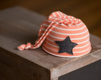 Newborn Hat READY TO SHIP Orange and White Striped Upcycled Sleepy Time Hat With Star Newborn Photo Prop Newborn Boy Hats, Newborn Boy Props