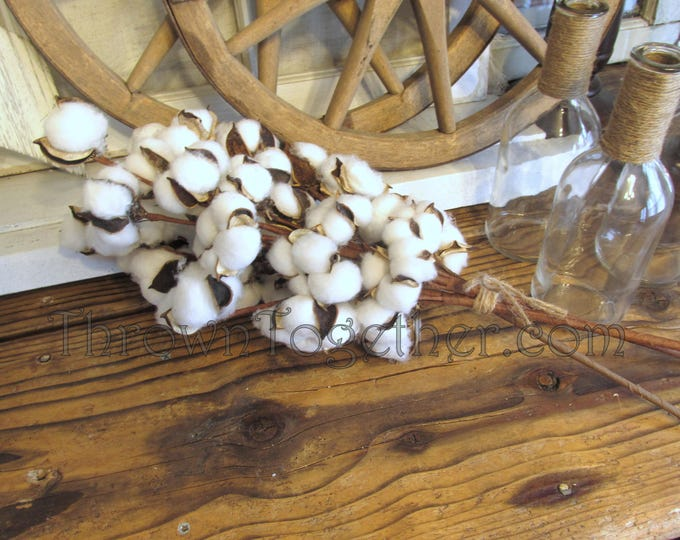 "Cotton Stems 20"" Wired Floral Spray, 3 Faux Cotton Stems, Rustic Farmhouse Cotton Decor, Cotton Floral Arrangement"