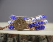 Country chic blue floral triple wrap bracelet