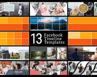 Facebook Timeline Cover Kit - 13 Facebook Timeline Templates - PSD Template - Customize Facebook Page - Instant Download - FK202