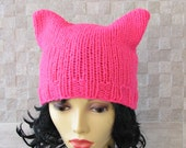 Neon Pink Pussyhat ,Pussy Cat Hat , Feminist Hat ,Pink Pussy Hat, Pink Cat Hat , Women's March Hat