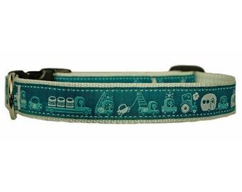 """Summer Dog Collar Small Dog Collar 3/4"""" Camper Dog Collar"""