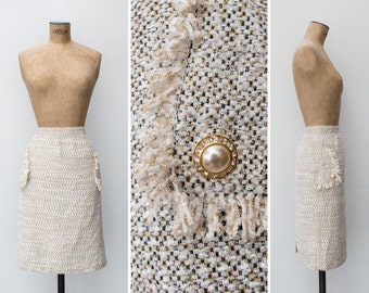 1990s Skirt - Vintage 90s Tube Tweed Lurex Rhinestone Chanel Style Tube Skirt - Rue de Cambon Skirt