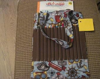 Kid's coloring book and pencil bag -- pirates