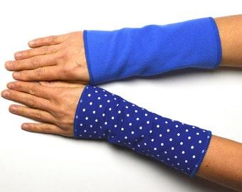 Short Mittens Arm Warmers Wrist Warmers double sided fleece cotton warm blue dotted