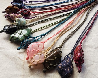 Interchangeable Crystal Macrame Necklaces