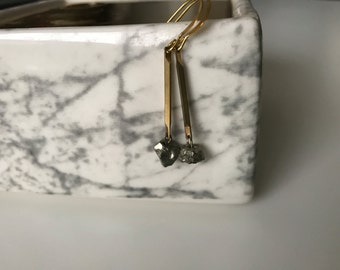 Pyrite and Brass Bar Dangle Earrings