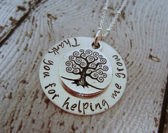 Teacher Necklace, Teacher Gift, Necklace for Teacher, Teacher Appreciation Gift, Gift for Teacher, Thank You for Helping Me Grow