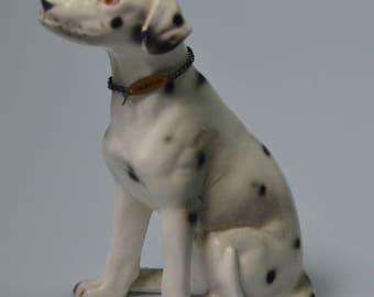 "eb2207 Dalmatian Dog Figurine Porcelain 4.25"" Tall with Metal Tag Collar"