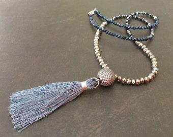 Long Tassel Necklace, Crystal Necklace, Boho Style, Pave CZ, Metallic Crystal, Sparkly Necklace, Layering Necklace, Boho Glam  1338