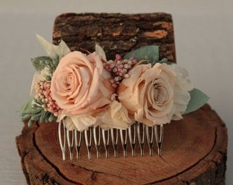 Champagne, Sage and Pale Blush Pink Wedding Hair Comb, Preserved Rose Bridal Comb, Dried Flower Hair Decor, Hydrangea and Rose Brides Comb