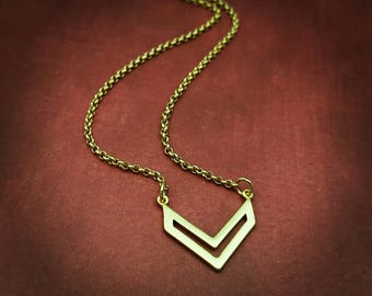 Satin Gold Double Chevron Necklace, Minimalist Jewelry, Chevron Necklace, Gold Jewelry, Wonder Woman, Fearless Females, Fearless Jewelry