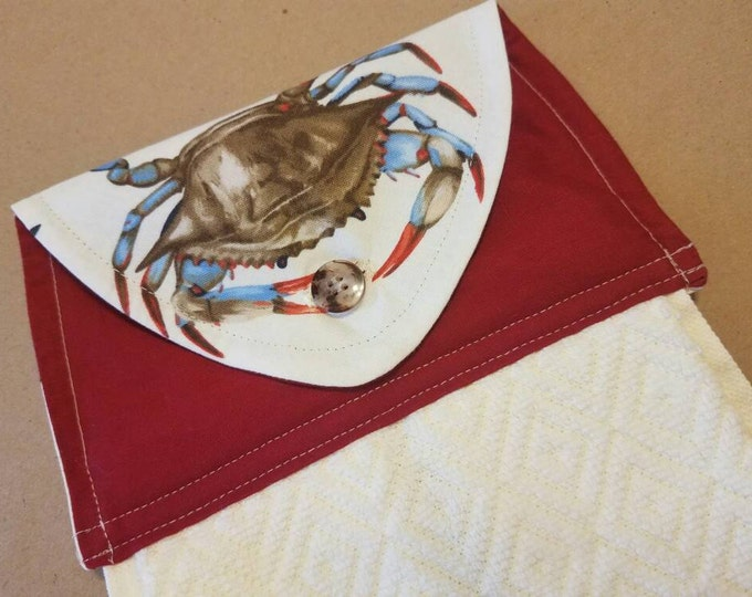 Featured listing image: Realistic Blue Crab Hanging Kitchen Towel, Nautical Kitchen Decor, Beach House Decor, Coastal Living, Housewarming, Button Top Dish Towel