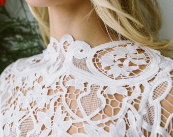 Lilac- Bridal top - lace topper