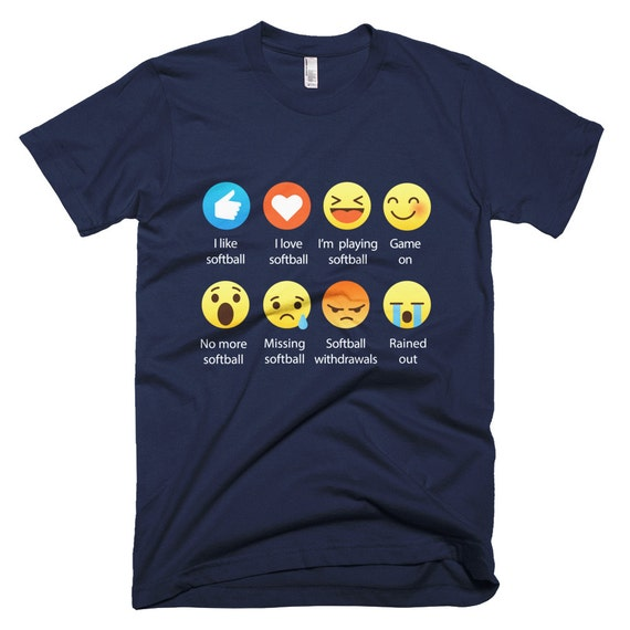 I Love SOFTBALL Emoticon (emoji) Social Icon Sayings T-Shirts (Fine Jersey)