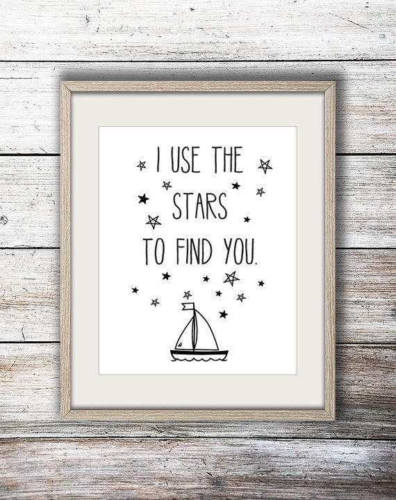 I Use the Stars to Find You Beachy Ocean Surf Beach House Nursery Children's Art Simple Minimalist Print - Digital Instant Download