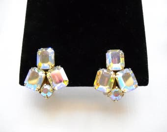 Signed WEISS  Vintage Earrings  Aurora Borealis Rhinestones 1960s