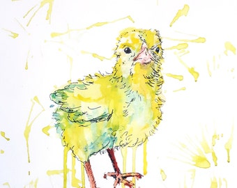 "Original mixed media painting ""Feather ball""chick,chicken,yellow ,fur ball,spring,splashy painting,bird art,dripping paint,effective art"