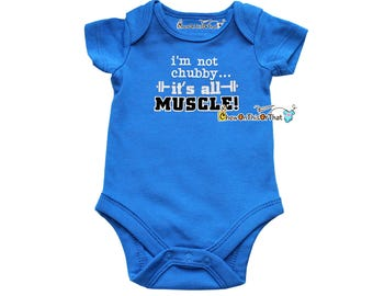 Blue Short Sleeved Statement Onesie Shirt - I'm Not Chubby It's All Muscle Infant Baby Boy Bodysuit