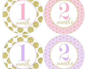 Twins Monthly Stickers Gift Set for Baby Girls in Pink, Lavender and Gold Glitter Like Designs - TMOS001