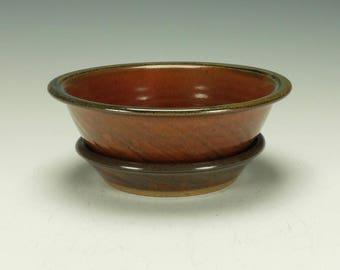 Stoneware pottery berry bowl.  Iron red.  Ready to ship.